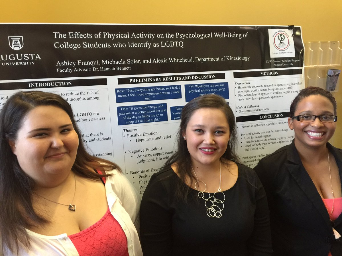 "Led by Dr. Hannah Bennett (not pictured), Alexis Whitehead (from left), Michaela Soler, and Ashley Frnaqui researched ""The Effects of Physical Activity on the Psychological Well-Being of College Students who Identify as LGBTQ."""