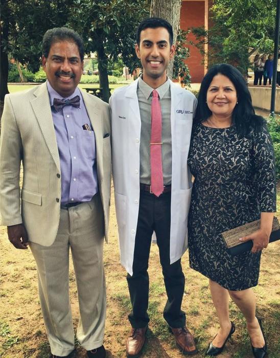White-coat recipient Varun Iyer with parents