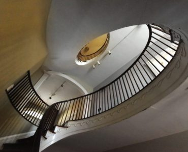 A stairwell in Gertrude Herbert Institute of Art
