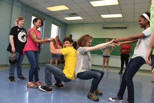 Dr. Melanie O'Meara leads an exercise at summer theater camp.
