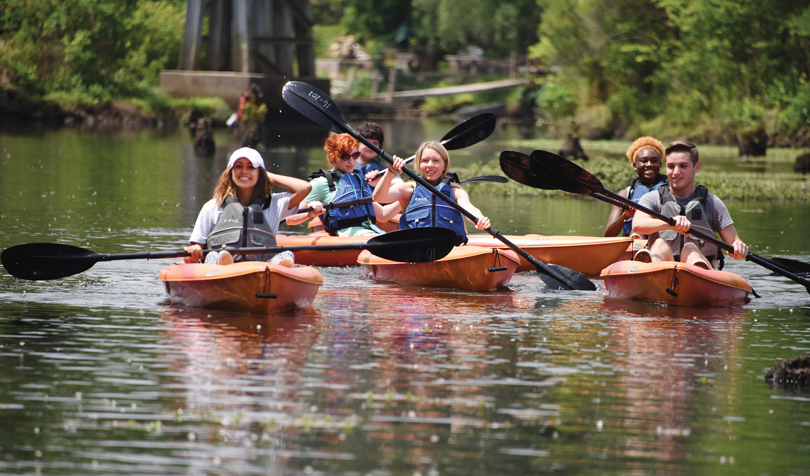 Students kayak down the Betty's Branch tributary of the Savannah River.