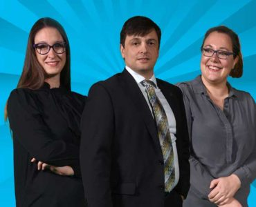 Gianluca De Leo (center) Chair of the Department of Clinical and Digital Health Sciences, Erica Cousa (left) and Eleanora Brivio (right), graduate students