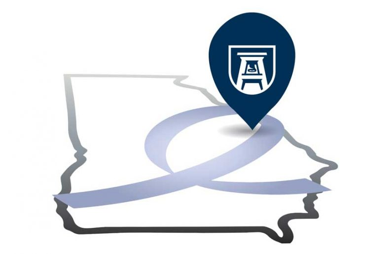 illustration of Georgia Cancer Center on state map