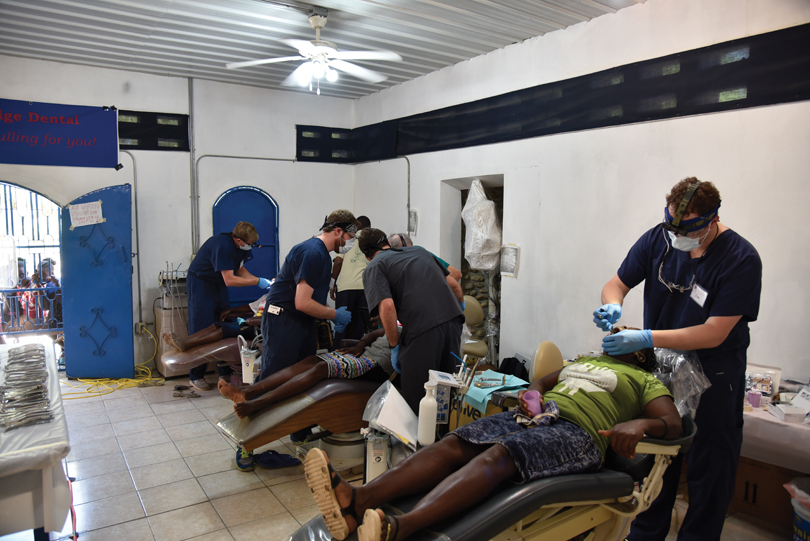dentists working on patients in Haiti