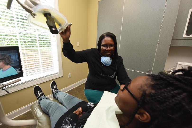 Dr. Louvenia Annette Rainge and a patient