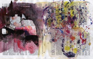 Fist, Mixed media on book pages, 2007