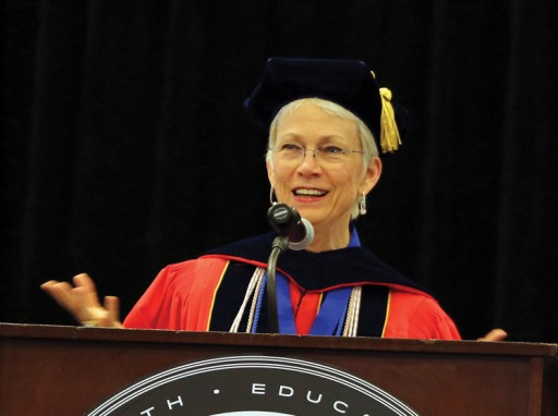 Dr. Lucy Marion speaks at the Nursing Convocation.