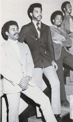 1972 Black Student Medical Alliance (from left): Leonard, Drs. Ronald Spearman and Joseph Hobbs, Class of 1974.