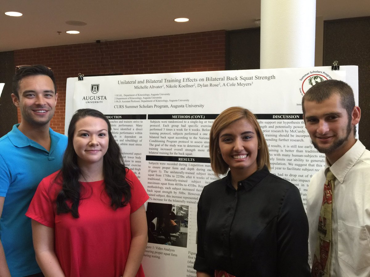 Dr. Amos Meyers (from left) lead undergraduate #kinesiology students Michelle Altvater, Nicole Koellner and Dylan Rose in investigating Unilateral and Bilateral Training Effects on Bilaterial Back Squat Strength.