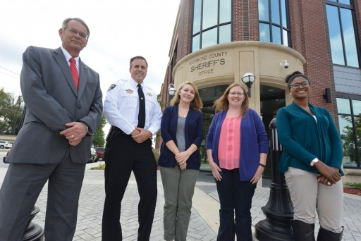 Lt. Jimmy Young (from left), Maj. Scott Peebles, Johnna Kelley, Dr. Allison Foley, Paxton Gordon