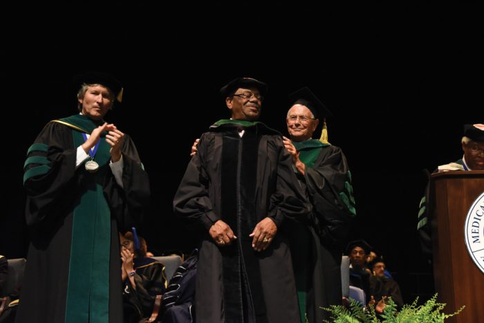Dr. Leonard received his MCG hood this year from mentor Dr. William B. Strong.