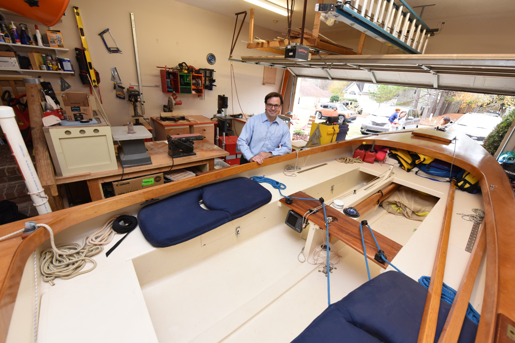 Kisting's garage houses both his workshop and his boat. Photo by Phil Jones.