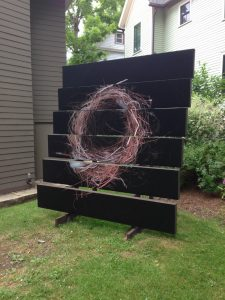 A look at one of Brian Rust's installations, which appears at the Melvin Johnson Sculpture Garden at the Chautauqua Institution.