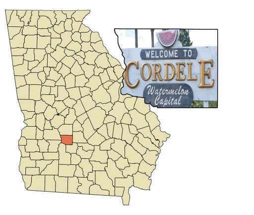 Cordele, nestled between Macon and Albany.